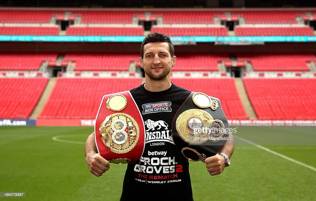 Carl Froch poses after a press conference to announce the upcoming WBA & IBF Super Middleweight World Championship fight between Carl Froch and George Groves at Wembley Stadium on May 29, 2014 in London, England.