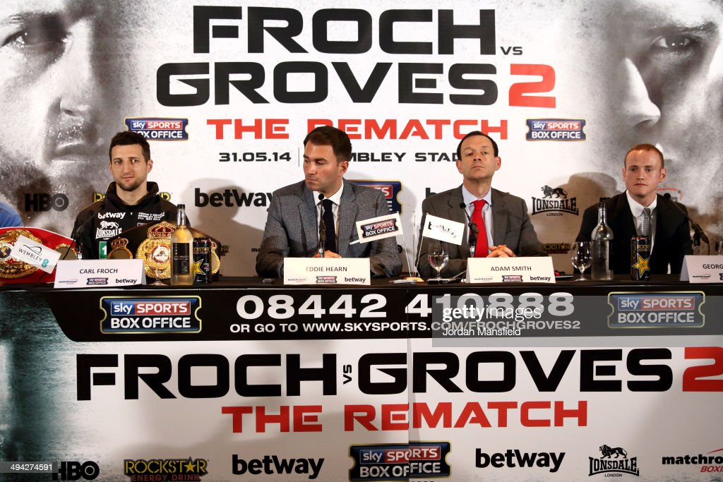 <a gi-track='captionPersonalityLinkClicked' href=/galleries/search?phrase=Carl+Froch&family=editorial&specificpeople=241345 ng-click='$event.stopPropagation()'>Carl Froch</a>, Promoter Eddie Hearn, Adam Smith and <a gi-track='captionPersonalityLinkClicked' href=/galleries/search?phrase=George+Groves&family=editorial&specificpeople=4006710 ng-click='$event.stopPropagation()'>George Groves</a> attend a press conference to announce the upcoming WBA & IBF Super Middleweight World Championship fight between <a gi-track='captionPersonalityLinkClicked' href=/galleries/search?phrase=Carl+Froch&family=editorial&specificpeople=241345 ng-click='$event.stopPropagation()'>Carl Froch</a> and <a gi-track='captionPersonalityLinkClicked' href=/galleries/search?phrase=George+Groves&family=editorial&specificpeople=4006710 ng-click='$event.stopPropagation()'>George Groves</a> at Wembley Stadium on May 29, 2014 in London, England.
