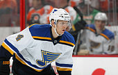 Carl Gunnarsson of the St Louis Blues looks on against the Philadelphia Flyers on March 5 2015 at the Wells Fargo Center in Philadelphia Pennsylvania