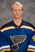 Carl Gunnarsson of the St Louis Blues of the St Louis Blues poses for his official headshot for the 20142015 season on September 18 2014 in St Louis...