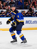 Carl Gunnarsson of the St Louis Blues skates against the Colorado Avalanche on November 1 2014 at Scottrade Center in St Louis Missouri