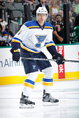 Carl Gunnarsson of the St Louis Blues skates against the Dallas Stars at the American Airlines Center on October 28 2014 in Dallas Texas