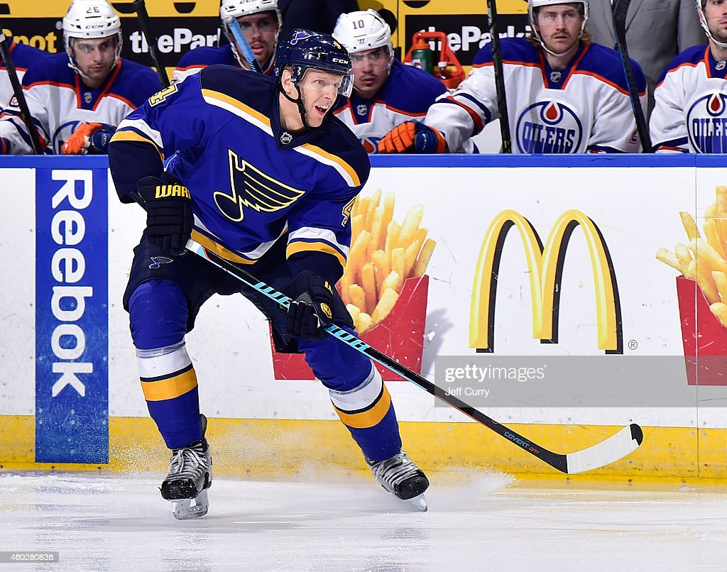 Carl Gunnarsson of the St Louis Blues skates against the Edmonton Oilers on November 28 2014 at Scottrade Center in St Louis Missouri