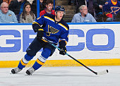 Carl Gunnarsson of the St Louis Blues skates against the Nashville Predators on January 29 2015 at Scottrade Center in St Louis Missouri