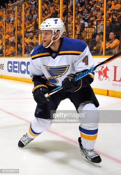 Carl Gunnarsson of the St Louis Blues skates against the Nashville Predators during the first period in Game Three of the Western Conference Second...