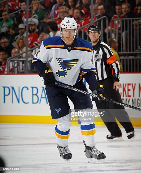 Carl Gunnarsson of the St Louis Blues skates against the New Jersey Devils at the Prudential Center on November 4 2014 in Newark New Jersey The Blues...