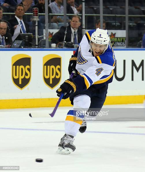 Carl Gunnarsson of the St Louis Blues skates against the New York Rangers at Madison Square Garden on November 12 2015 in New York City The Rangers...