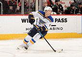 Carl Gunnarsson of the St Louis Blues skates with the puck against the Arizona Coyotes at Gila River Arena on February 20 2016 in Glendale Arizona