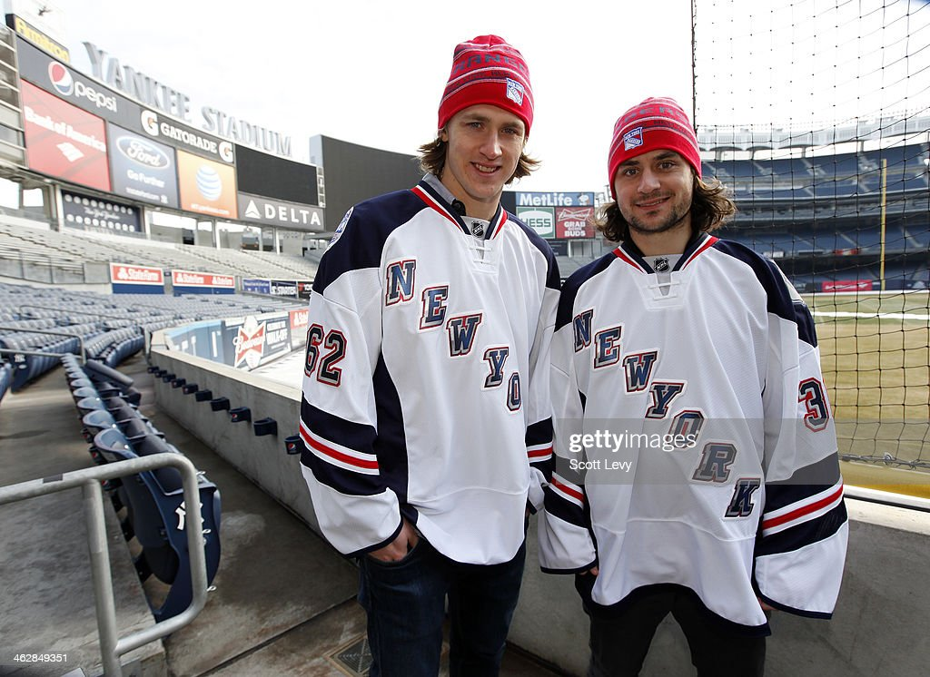 Carl Hagelin (L) and Mats Zuccarello of the New York Rangers pose for a photo during the 2014 Coors Light Stadium Series refrigeration truck arrival event on January 15, 2014 at Yankee Stadium in the Bronx borough of New York City. With less than two weeks until the first-ever hockey games to be played at Yankee Stadium on January 26 and 29, the National Hockey League officially took over with the arrival of the NHL Ice Truck.
