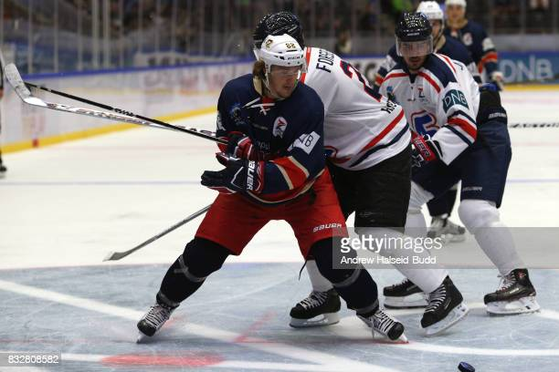 Carl Hagelin in action against Peter Forsberg during the Team Zuccarello v Team Icebreakers All Star Game at the DNB Arena on August 16 2017 in...