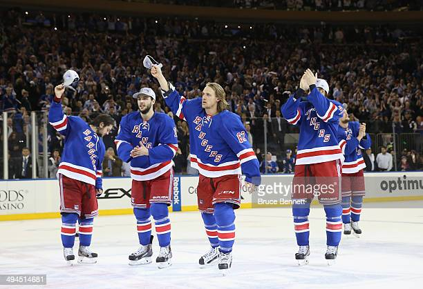 Carl Hagelin of the New York Rangers celebrates after defeating the Montreal Canadiens in Game Six to win the Eastern Conference Final in the 2014...