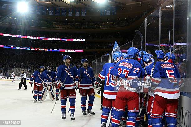 Carl Hagelin of the New York Rangers celebrates his game winning goal against Craig Anderson of the Ottawa Senators to the Ottawa Senators in...