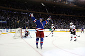 Carl Hagelin of the New York Rangers celebrates his game winning goal against Craig Anderson of the Ottawa Senators to defeat the Ottawa Senators in...
