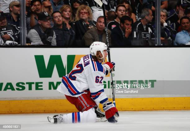 Carl Hagelin of the New York Rangers celebrates his goal in the first period against the Los Angeles Kings in Game One of the 2014 Stanley Cup Final...