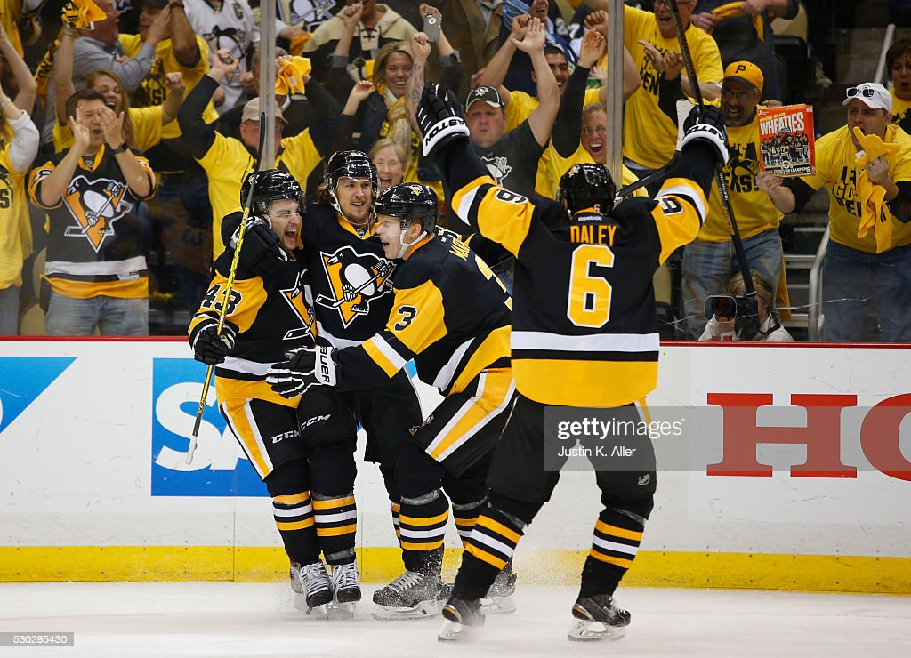 Carl Hagelin #62 of the Pittsburgh Penguins celebrates his second period goal against the Washington Capitals in Game Six of the Eastern Conference Second Round during the 2016 NHL Stanley Cup Playoffs at Consol Energy Center on May 10, 2016 in Pittsburgh, Pennsylvania.