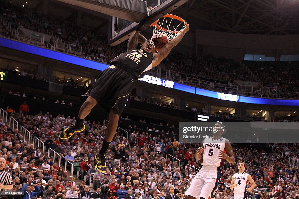 Carl Hall #22 of the Wichita State Shockers dunks the ball in the first half while taking on the Gonzaga Bulldogs during the third round of the 2013 NCAA Men's Basketball Tournament at EnergySolutions Arena on March 23, 2013 in Salt Lake City, Utah.