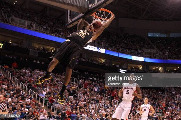Carl Hall of the Wichita State Shockers dunks the ball in the first half while taking on the Gonzaga Bulldogs during the third round of the 2013 NCAA...