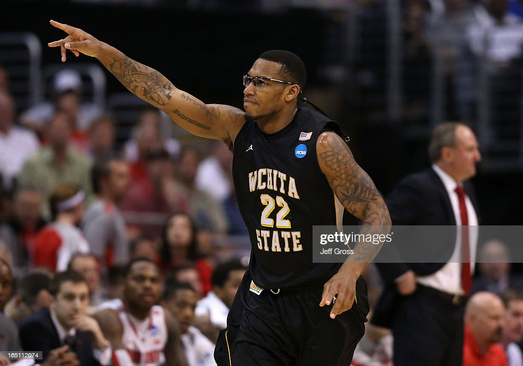 Carl Hall #22 of the Wichita State Shockers reacts in the first half while taking on the Ohio State Buckeyes during the West Regional Final of the 2013 NCAA Men's Basketball Tournament at Staples Center on March 30, 2013 in Los Angeles, California.