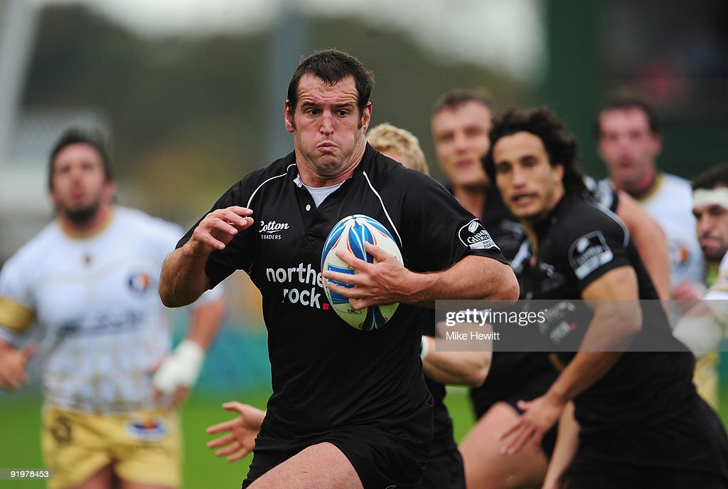 Carl Hayman of Newcastle goes on the charge during the Amlin Challenge Cup match between Newcastle Falcons and Albi at Kingston Park on October 18, 2009 in Newcastle upon Tyne, England.