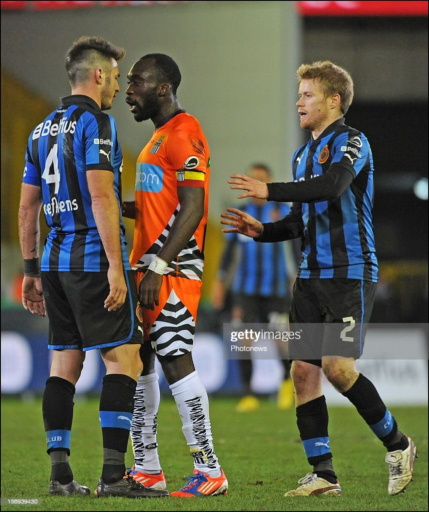 Carl Hoefkens of Club Brugge KV and Herve Kage of Charleroi pictured during the Jupiler League match between Club Brugge K.V and R.C.S.Charleroi November 25, 2012 in Brugge, Belgium.