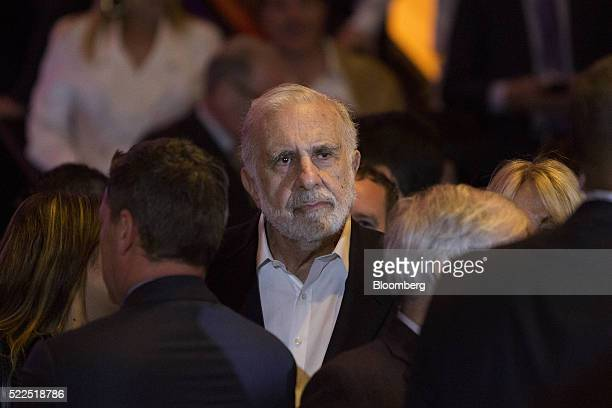 Carl Icahn billionaire activist investor waits for Donald Trump president and chief executive of Trump Organization Inc and 2016 Republican...