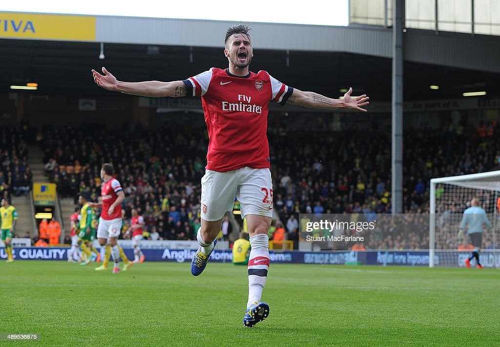 <a gi-track='captionPersonalityLinkClicked' href=/galleries/search?phrase=Carl+Jenkinson&family=editorial&specificpeople=7935131 ng-click='$event.stopPropagation()'>Carl Jenkinson</a> celebrates scoring the 2nd Arsenal goal during the Barclays Premier League match between Norwich City and Arsenal at Carrow Road on May 11, 2014 in Norwich, England.