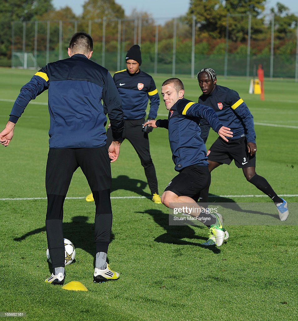 Carl Jenkinson, Jack Wilshere, Francis Coquelin and Bacary Sagna of Arsenal before a training session at London Colney on November 5, 2012 in St Albans, England.