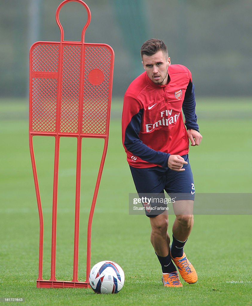 Carl Jenkinson of Arsenal during a training session at London Colney on September 24, 2013 in St Albans, England.