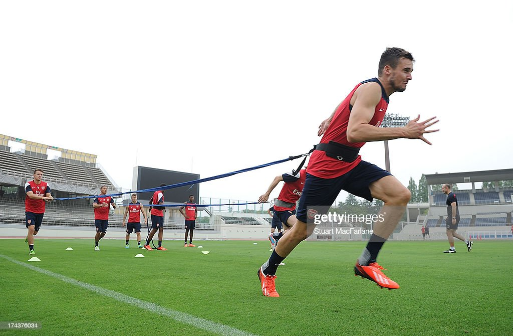 Carl Jenkinson of Arsenal during a training session in Saitama Japan for the club's preseason Asian tour at the Saitama Stadium on July 25 2013 in...
