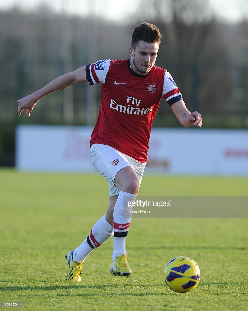 Carl Jenkinson of Arsenal during the Barclays Premier U21 match between Arsenal U21 and West Bromwich Albion U21 at London Colney on January 9, 2013 in St Albans, United Kingdom.