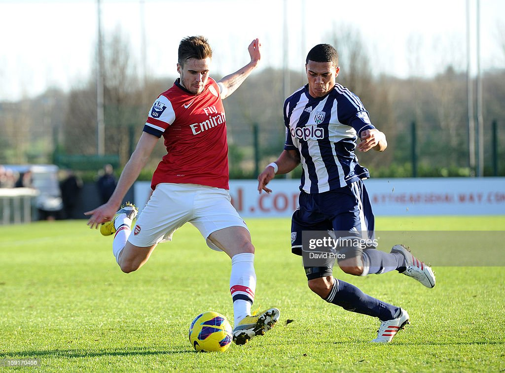 Carl Jenkinson of Arsenal has his cross blocked by Bradley Garmston of WBA during the Barclays Premier U21 match between Arsenal U21 and West Bromwich Albion U21 at London Colney on January 9, 2013 in St Albans, United Kingdom.