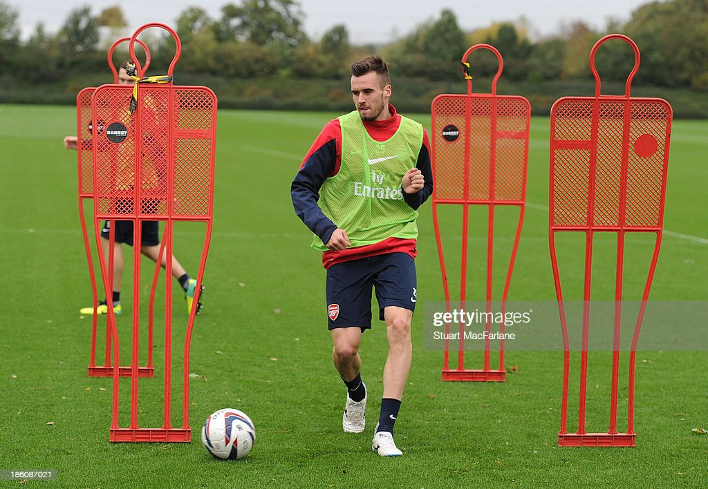 <a gi-track='captionPersonalityLinkClicked' href=/galleries/search?phrase=Carl+Jenkinson&family=editorial&specificpeople=7935131 ng-click='$event.stopPropagation()'>Carl Jenkinson</a> of Arsenal in action during a training session at London Colney on October 28, 2013 in St Albans, England.