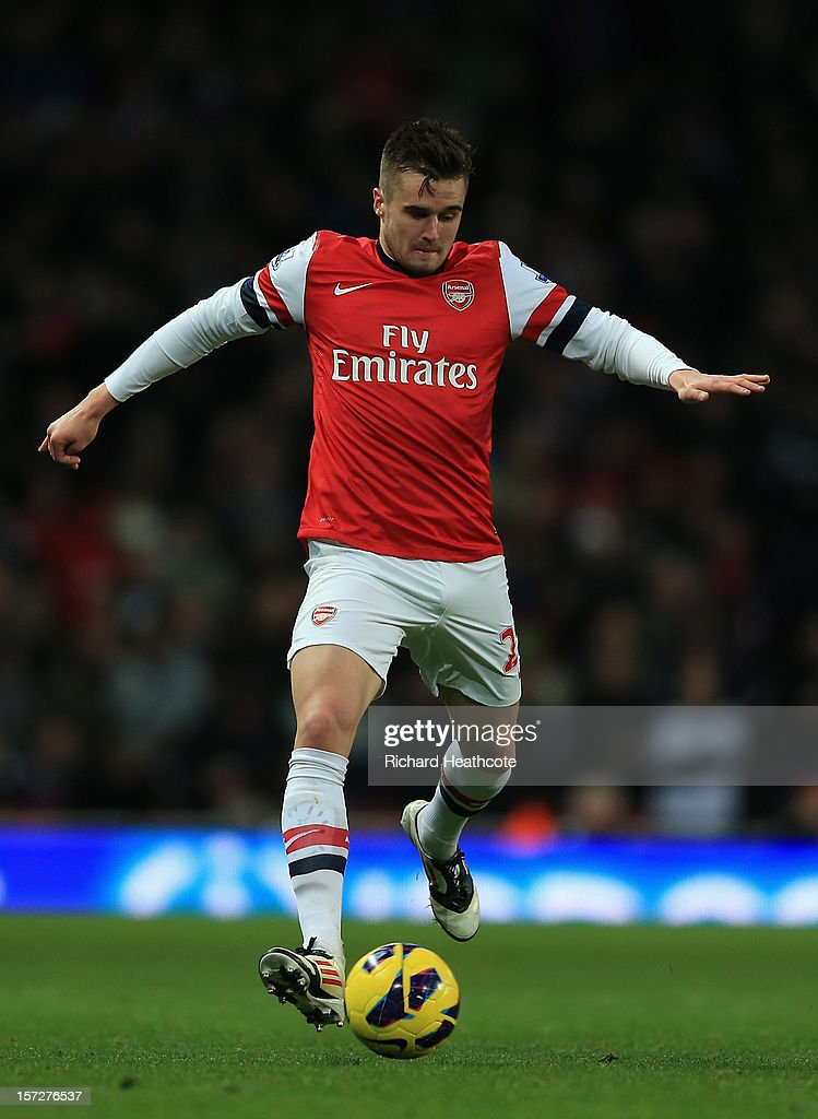 <a gi-track='captionPersonalityLinkClicked' href=/galleries/search?phrase=Carl+Jenkinson&family=editorial&specificpeople=7935131 ng-click='$event.stopPropagation()'>Carl Jenkinson</a> of Arsenal in action during the Barclays Premier League match between Arsenal and Swansea City at the Emirates Stadium on December 1, 2012 in London, England.