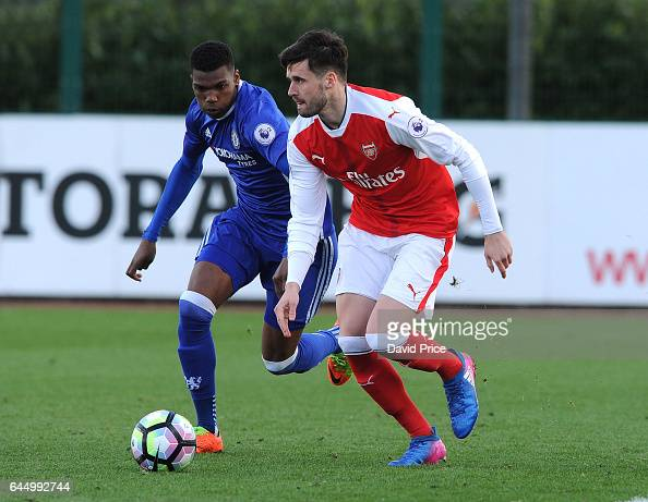 Carl Jenkinson of Arsenal is closed down by Dujon Sterling of Chelsea during the match between Arsenal U23 and Chelsea U23 at London Colney on...