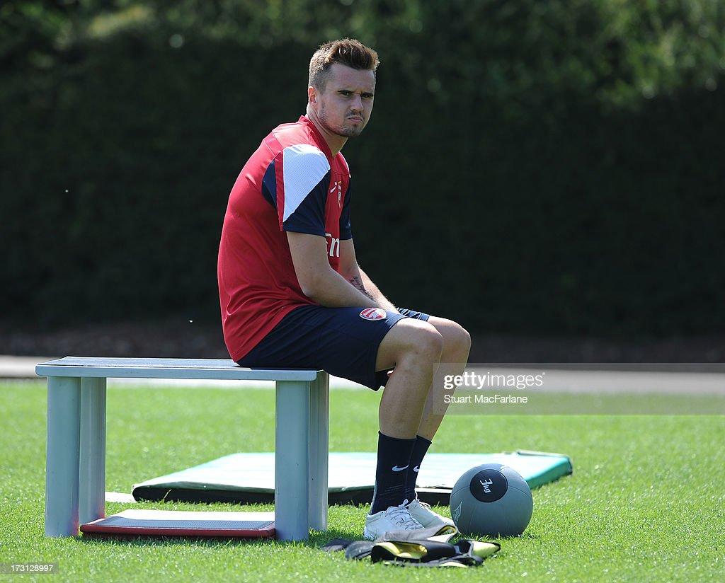 <a gi-track='captionPersonalityLinkClicked' href=/galleries/search?phrase=Carl+Jenkinson&family=editorial&specificpeople=7935131 ng-click='$event.stopPropagation()'>Carl Jenkinson</a> of Arsenal looks on during a training session at London Colney on July 08, 2013 in St Albans, England.
