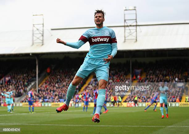 Carl Jenkinson of West Ham United celebrates scoring his team's first goal during the Barclays Premier League match between Crystal Palace and West...