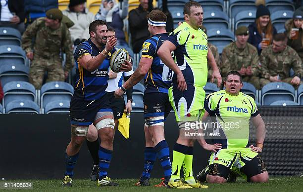 Carl Kirwan of Worcester Warriors celebrates his try during the Aviva Premiership match between Worcester Warriors and Sale Sharks at Sixways Stadium...
