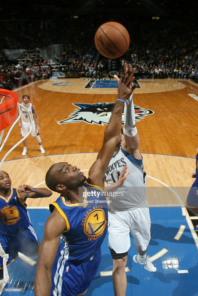 Carl Landry #7 of the Golden State Warriors attempts to block a shot against the Minnesota Timberwolves on February 24, 2013 at Target Center in Minneapolis, Minnesota.