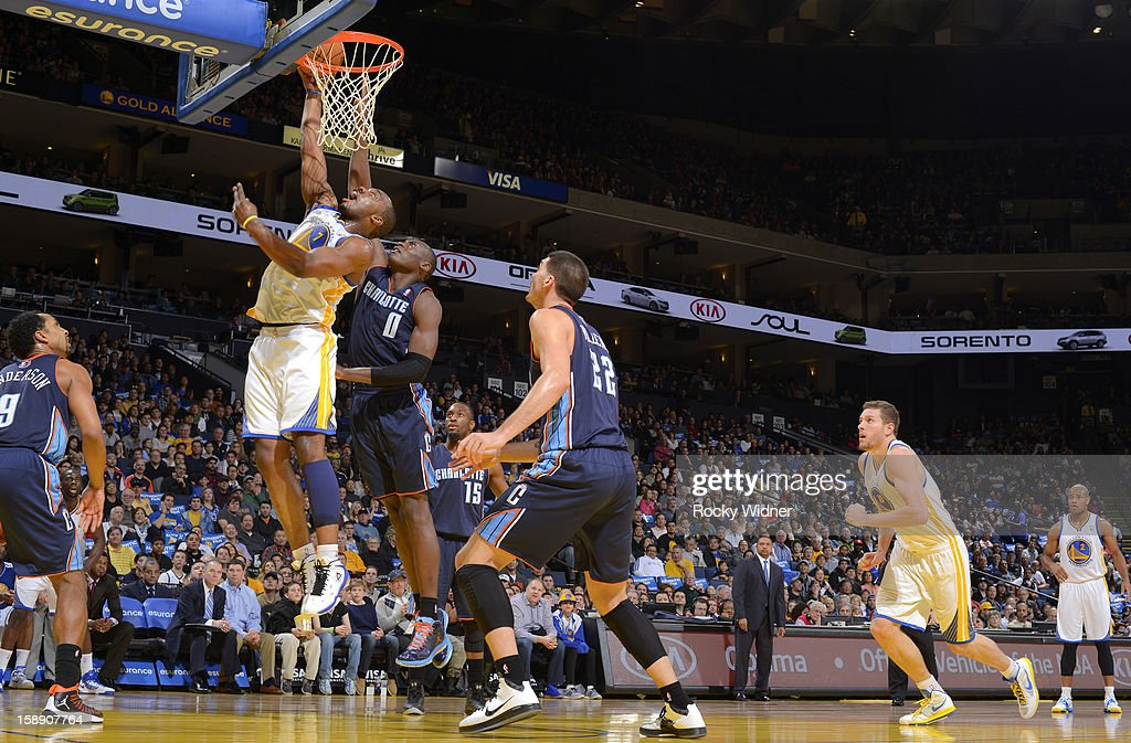 <a gi-track='captionPersonalityLinkClicked' href=/galleries/search?phrase=Carl+Landry&family=editorial&specificpeople=4111952 ng-click='$event.stopPropagation()'>Carl Landry</a> #7 of the Golden State Warriors goes up for the shot against <a gi-track='captionPersonalityLinkClicked' href=/galleries/search?phrase=Bismack+Biyombo&family=editorial&specificpeople=7640443 ng-click='$event.stopPropagation()'>Bismack Biyombo</a> #0 of the Charlotte Bobcats on December 21, 2012 at Oracle Arena in Oakland, California.