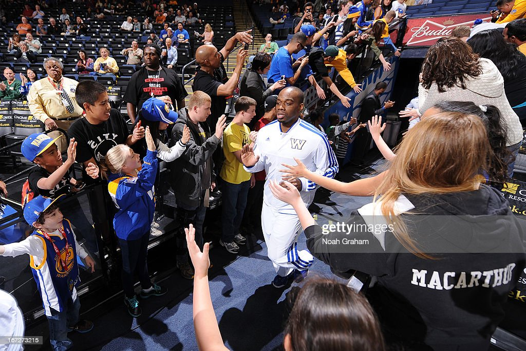 <a gi-track='captionPersonalityLinkClicked' href=/galleries/search?phrase=Carl+Landry&family=editorial&specificpeople=4111952 ng-click='$event.stopPropagation()'>Carl Landry</a> #7 of the Golden State Warriors runs out before the game against the Detroit Pistons on March 13, 2013 at Oracle Arena in Oakland, California.