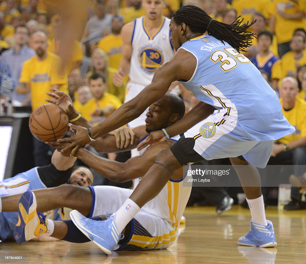 Carl Landry (7) of the Golden State Warriors scrambles for a lose ball with Kenneth Faried (35) of the Denver Nuggets and JaVale McGee (34) during the first quarter in Game 6 of the first round NBA Playoffs May 2, 2013 at Oracle Arena.
