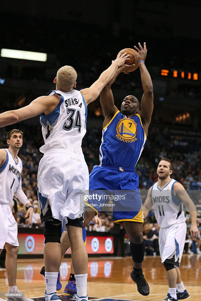 Carl Landry #7 of the Golden State Warriors takes a shot against the Minnesota Timberwolves on February 24, 2013 at Target Center in Minneapolis, Minnesota.