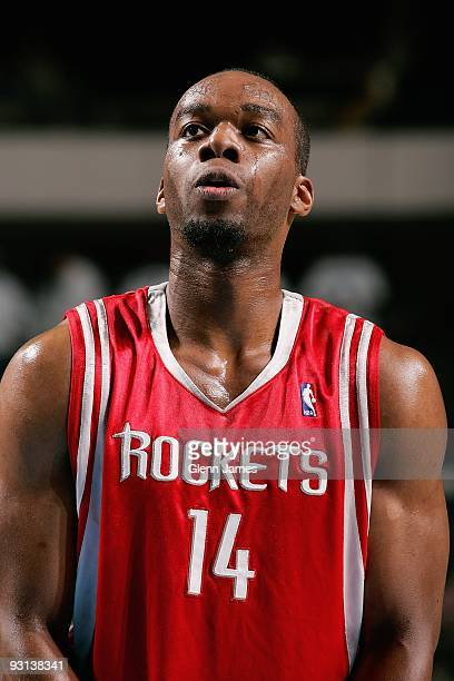 Carl Landry of the Houston Rockets looks up court during the game against the Dallas Mavericks on November 10 2009 at American Airlines Center in...