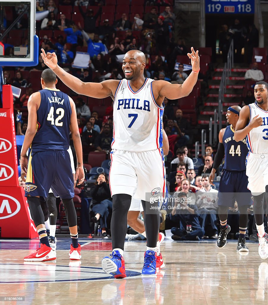 Carl Landry of the Philadelphia 76ers enjoys hitting the three pointer against New Orleans Pelicans the at Wells Fargo Center on April 5 2016 in...
