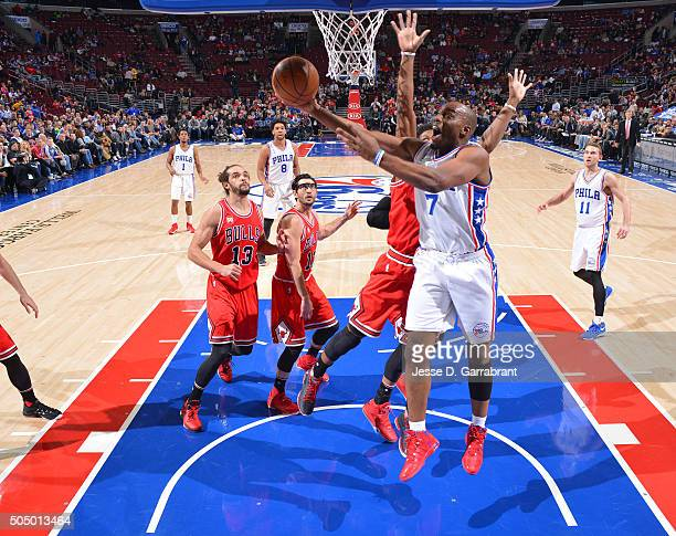 Carl Landry of the Philadelphia 76ers goes up for the layup against the Chicago Bulls at Wells Fargo Center on January 14 2015 in Philadelphia...