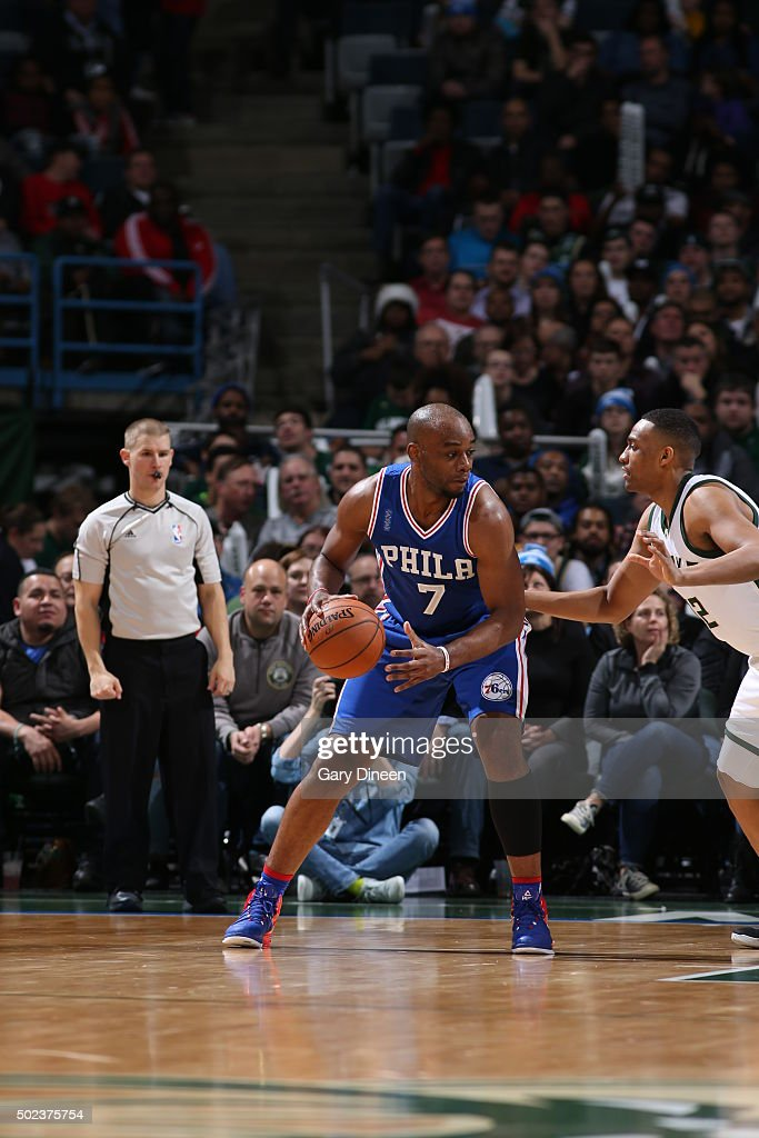 Carl Landry of the Philadelphia 76ers handles the ball against the Milwaukee Bucks on December 23 2015 at the BMO Harris Bradley Center in Milwaukee...