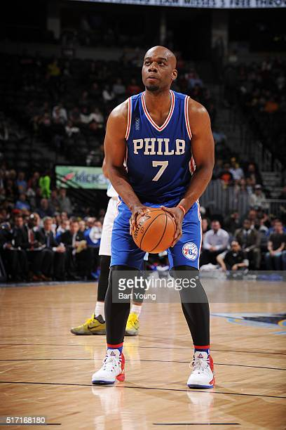 Carl Landry of the Philadelphia 76ers shoots a free throw against the Denver Nuggets on March 23 2016 at the Pepsi Center in Denver Colorado NOTE TO...