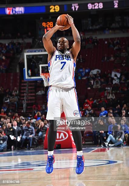 Carl Landry of the Philadelphia 76ers shoots the ball against New Orleans Pelicans the at Wells Fargo Center on April 5 2016 in Philadelphia...