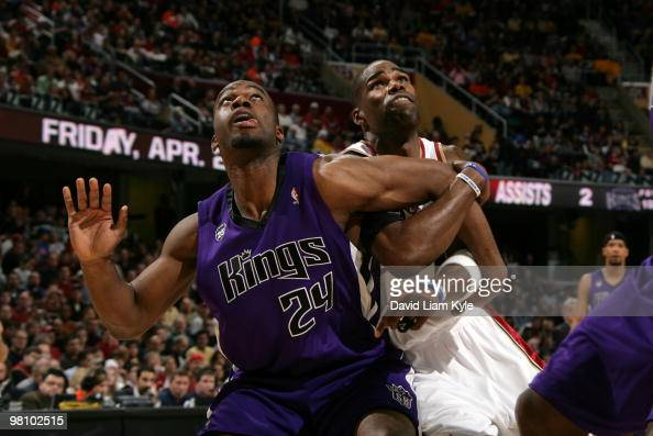 Carl Landry of the Sacramento Kings boxes out Antawn Jamison of the Cleveland Cavaliers for the rebound on March 28 2010 at The Quicken Loans Arena...
