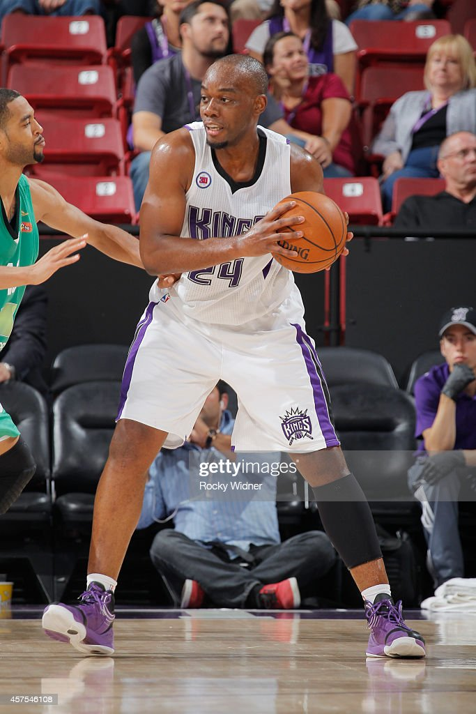 Carl Landry of the Sacramento Kings handles the ball against Maccabi Haifa on October 18 2014 at Sleep Train Arena in Sacramento California NOTE TO...